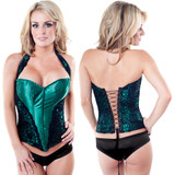 Emerald w Black Satin & Lace  Corset w Straps & Lace Up Back - HUGE CLEARANCE