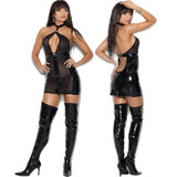 Vinyl & Fishnet Dress w Deep Keyhole Front - Front and Back