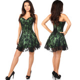 Strapless Satin Corset Dress w Lace Overlay - Green