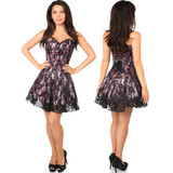 Strapless Satin Corset Dress w Lace Overlay - Pink