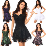 Strapless Satin Corset Dress w Lace Overlay - in 5 Colors, Sizes Small through 6X