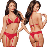 Closeup - Front and Back of Red Peek-a-Boo Bra Set