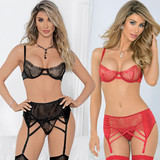 Bra Set is available in Black or Red and Sizes S - L