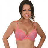 2 Tone Push Up Bra in Pink - Front
