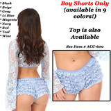 Lace Ruffle Boy Shorts - Light Blue