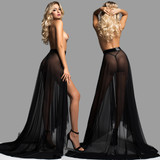 Flowing Sheer Power Mesh Skirt - Front and Back