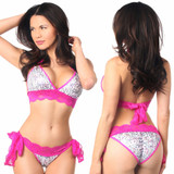 Sequin Pucker Back Bikini Set