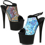 Holographic Sandal in Blue or Pewter