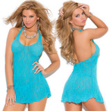 Turquoise Mini Dress with Halter Top