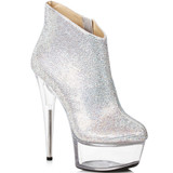 Bootie in Silver w Clear Heel and Platform.  Covered with Rhinestones