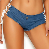 Denim Booty Shorts with Lace Up Sides - Front