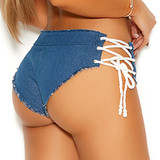 Denim Booty Shorts with Lace Up Sides - Back