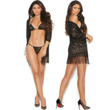 Lace Robe, Bra Top and G-String Set.  3/4 Sleeves and Fringe Trim.