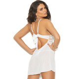 Mesh and Crochet Babydoll with Tie Back