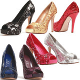 "4"" Open Toe Glitter Pumps"