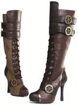 "4"" Steampunk Knee High Boot w Laces & Buckles"