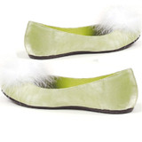 Flat Satin Green Pump w Maribou at Toe