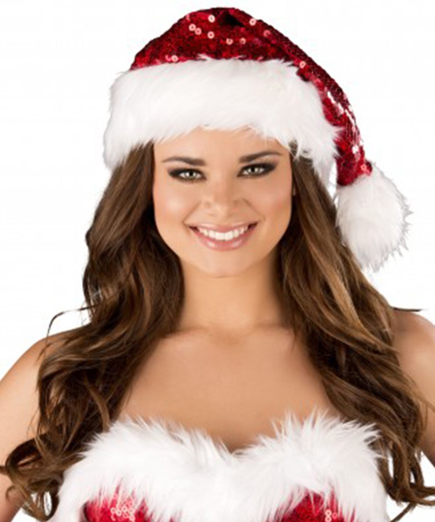 39624ae37ba9e Santa Hat with Red Sequin   White Faux Fur Trim - Genuine Roma ...