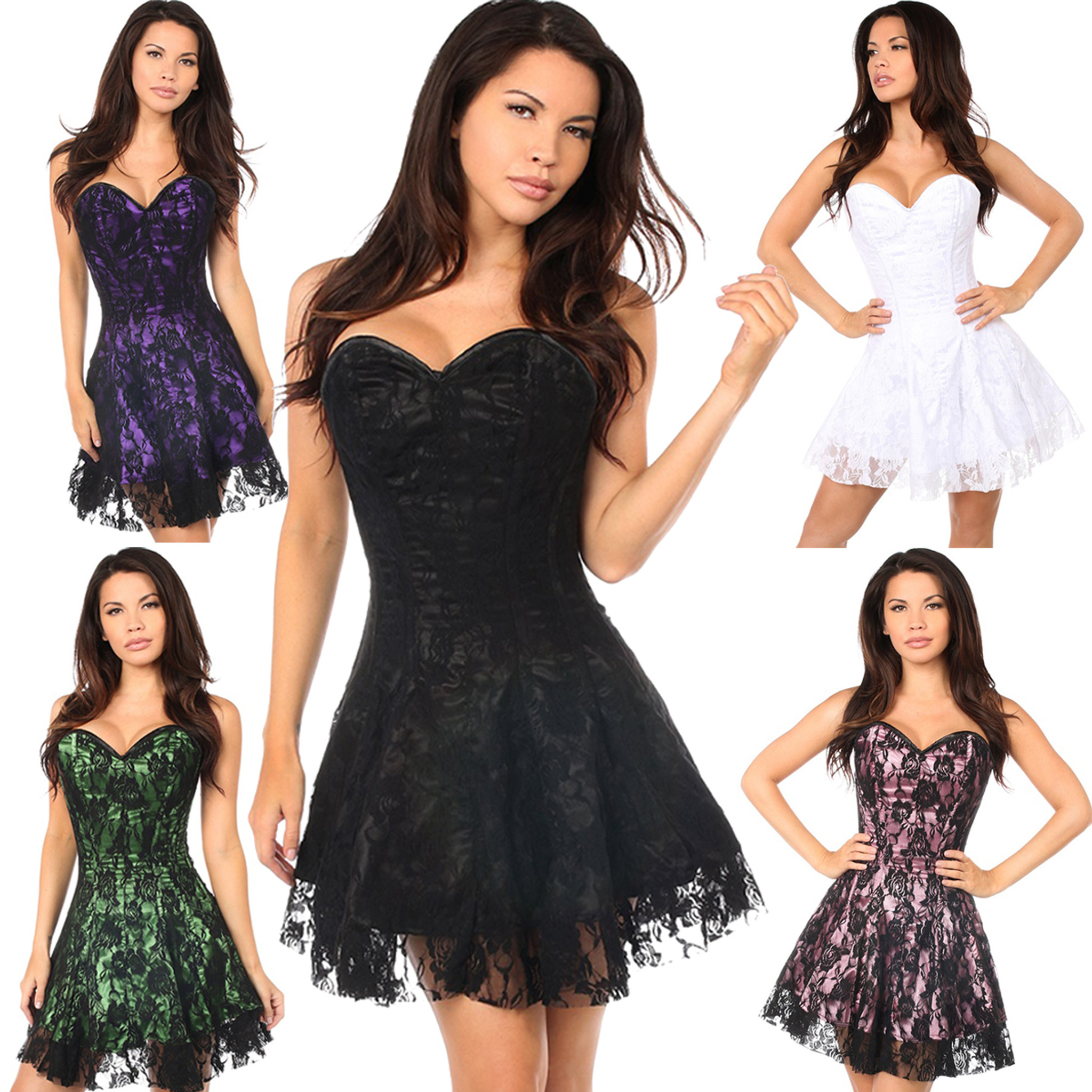 b2dbc7f1b Strapless Corset Dress w Black Lace Overlay - 5 Colors in Sizes S ...