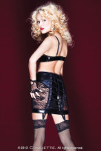 Wet Look Garter Skirt w Lace Panels & Lace Up Back - CLEARANCE - S, L Only