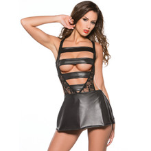 Lace and Wet Look Dress with Strappy Front - O/S