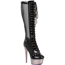 "6"" Metallic Microfiber Boot w Platform and Lace Up Front - Sz 5 - 12"