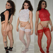 Lace & Satin Crop Top - Black, Red or White - Sizes Small to Large