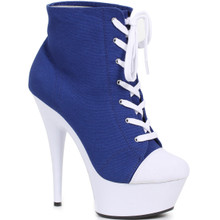"6"" Heel Blue Ankle Boot for Playtime Fun"