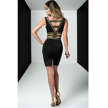 Dress w Gold Sparkle Front Detail and Strappy Back - S-XL