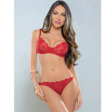 Demi Bra and Panty Set - Red