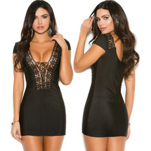 Boho Short Sleeve Mini Dress w Lace Up Front - Size Small to XL (8342)