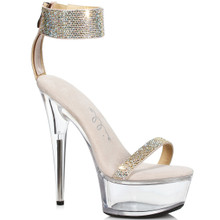 Gold Sandal w Rhinestones - Strap around Ankle and Toes