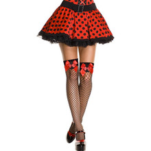 Fishnet w/ Ladybug applique and bow  - Sz O/S