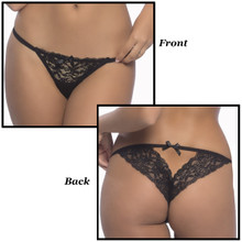Lace Tanga Panty in Black - Up to Size 4X