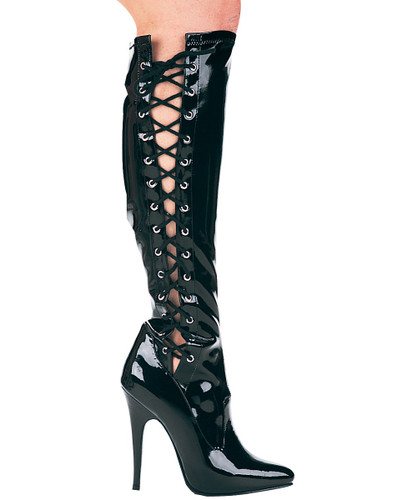"""5"""" Knee High Boot w Lace Up Sides and Inner Zipper - Up to Size 14"""