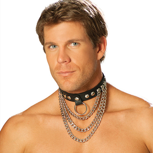 Leather Collar w Chains and O-Ring