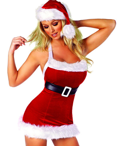 Red Velvet Mini Dress w Faux Fur and Built in Belt - Sizes S/M and M/L - Genuine Roma Product