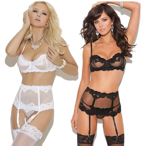 Bra, Waist Cincher, G-String Set - in Black or White