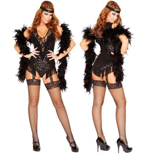 2 pc 1920's Party Flapper w Fringed Romper and Sequin Headband - Sizes S - L - Genuine Roma Product