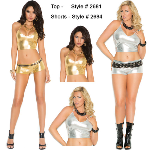 Gold or Silver Lame Top - Shorts Sold Separately