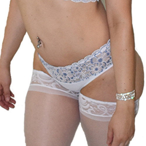 Lace & Satin Scalloped Panty Matches Bralette 4317 - 3 Colors O/S, XL