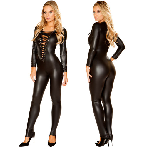 Long Sleeved Multi Purpose Catsuit w Lace Up Front - S-L - Genuine Roma Product
