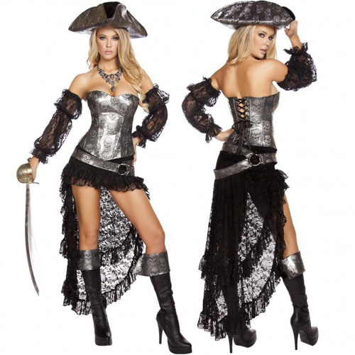 4 pc Deadly Pirate Captain Costume - Sz S - L - Genuine Roma Product