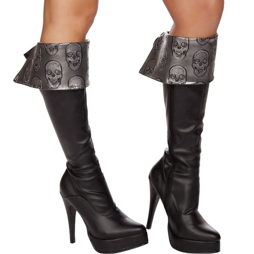 Embroidered Skull Boot Cuffs