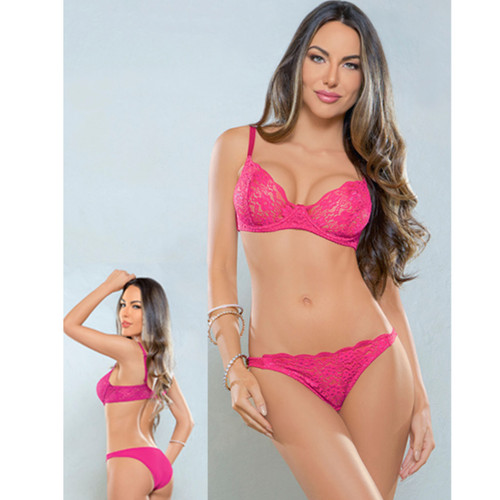 Lace Bra and Panty Set - Fuchsia
