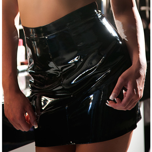 Vinyl Mini Skirt - Front Closeup
