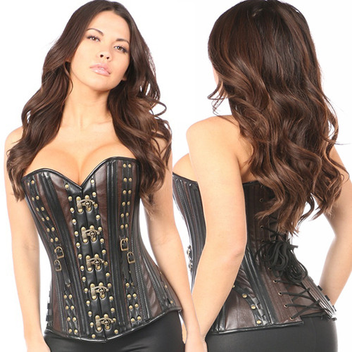 Corset - Brown & Black w Gold Rivets
