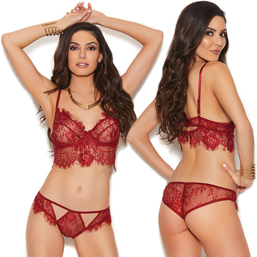 Eyelash Lace Cami Top w Matching Lace Panty