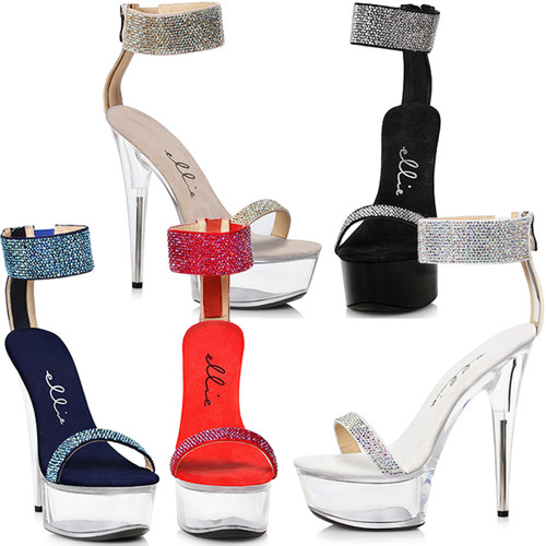 Stiletto Sandal with Rhinestone Ankle & Toe Straps - 5 Colors