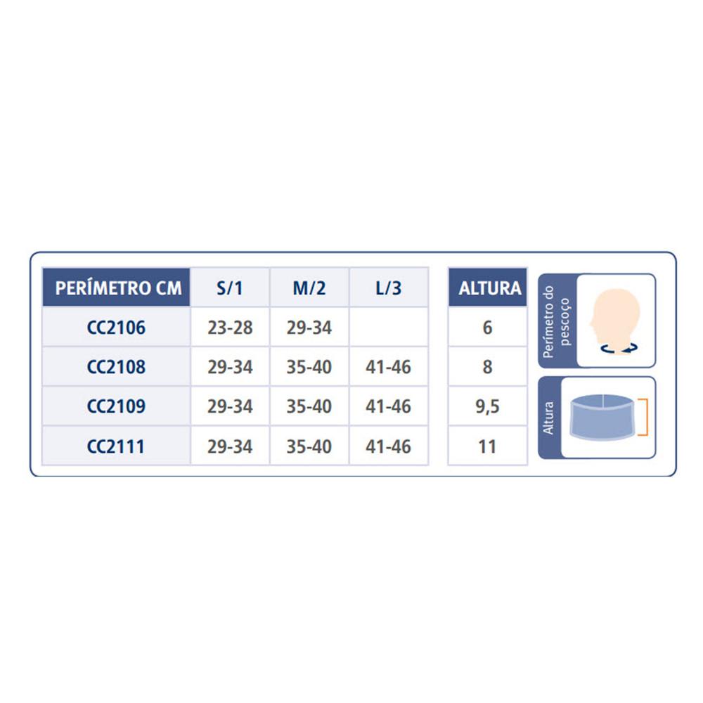 Colar Cervical em Espuma - Tabela